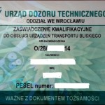 zażwiadczenie dozoru technicznego do obsługi urzadzeń transportu bliskiego